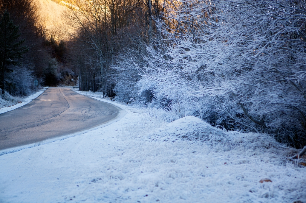 frozen road in Spain