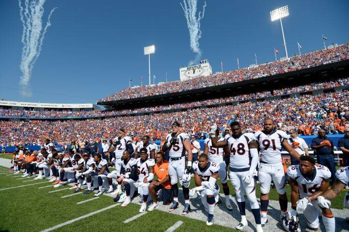 Denver Broncos versus the Buffalo Bills