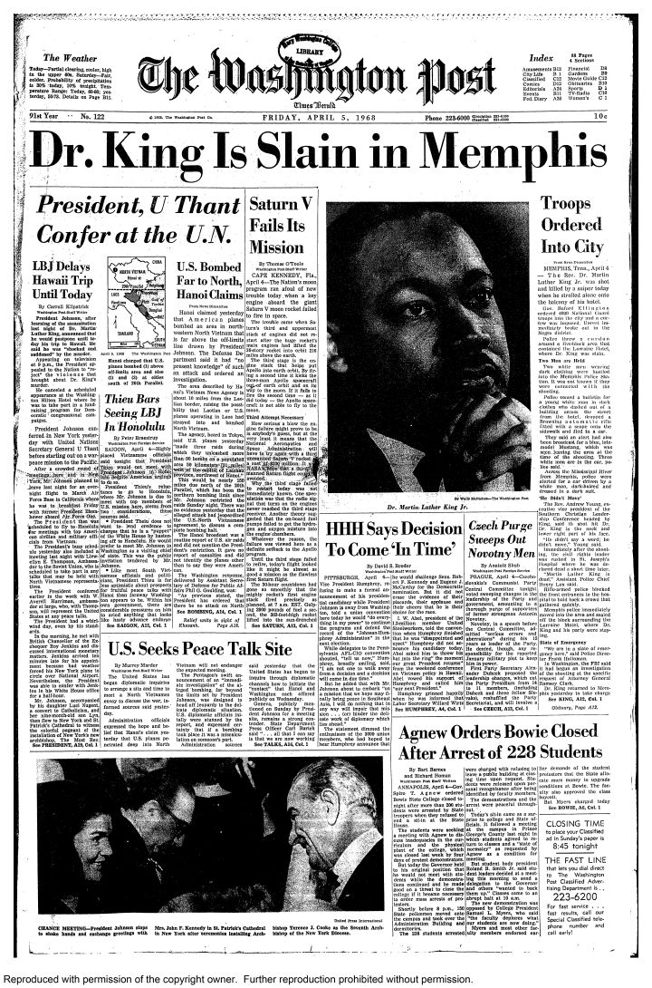 Front page of The Washington Post, April 5, 1968 during the rio