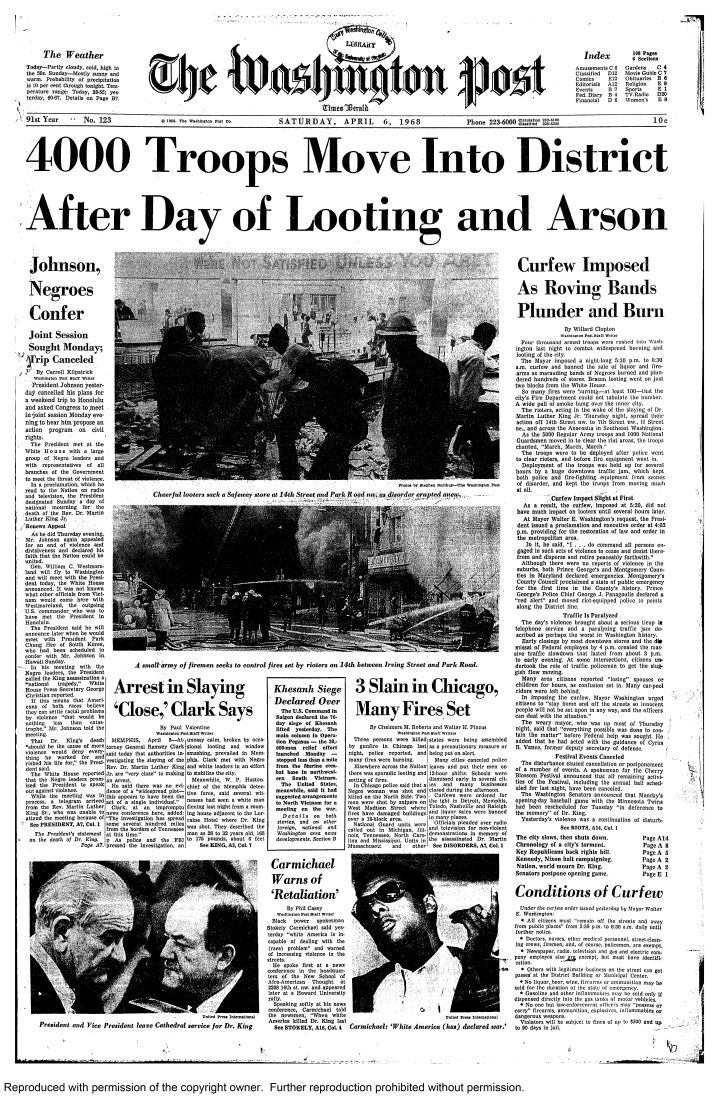 Front page of The Washington Post, April 6, 1968 during the rio