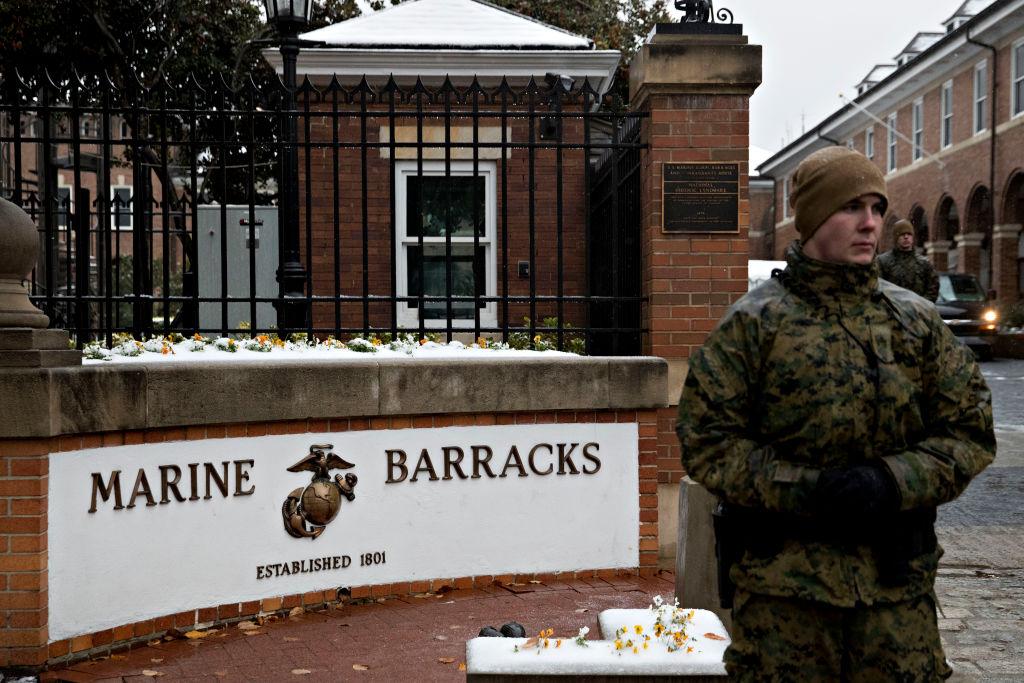 President Trump And First Lady Melania Trump Visit Marine Barracks