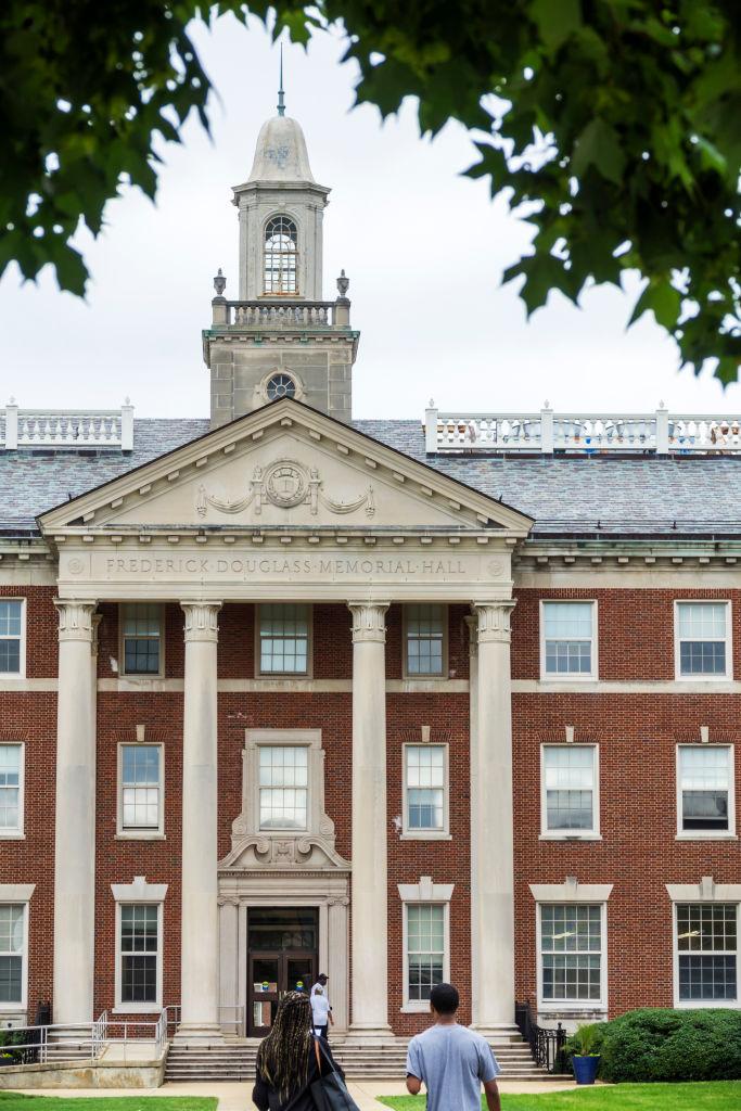 Washington DC, Howard University campus, Frederick Douglass Memorial Hall entrance