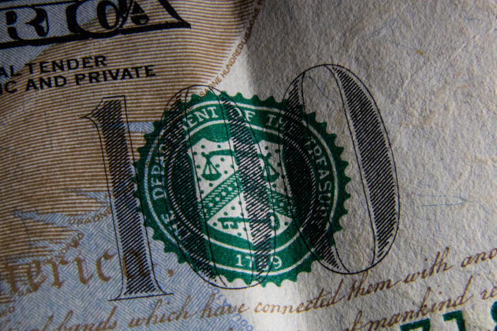 Detail of the 2013 series 100 US dollar banknote
