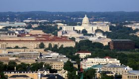 Panoramic Aerial View of Washington DC at sunset.