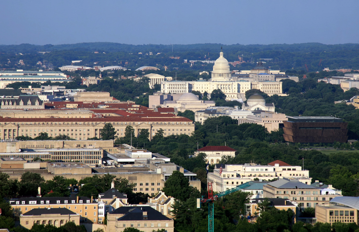 Panoramic Aerial View of Washington DC at sunset.