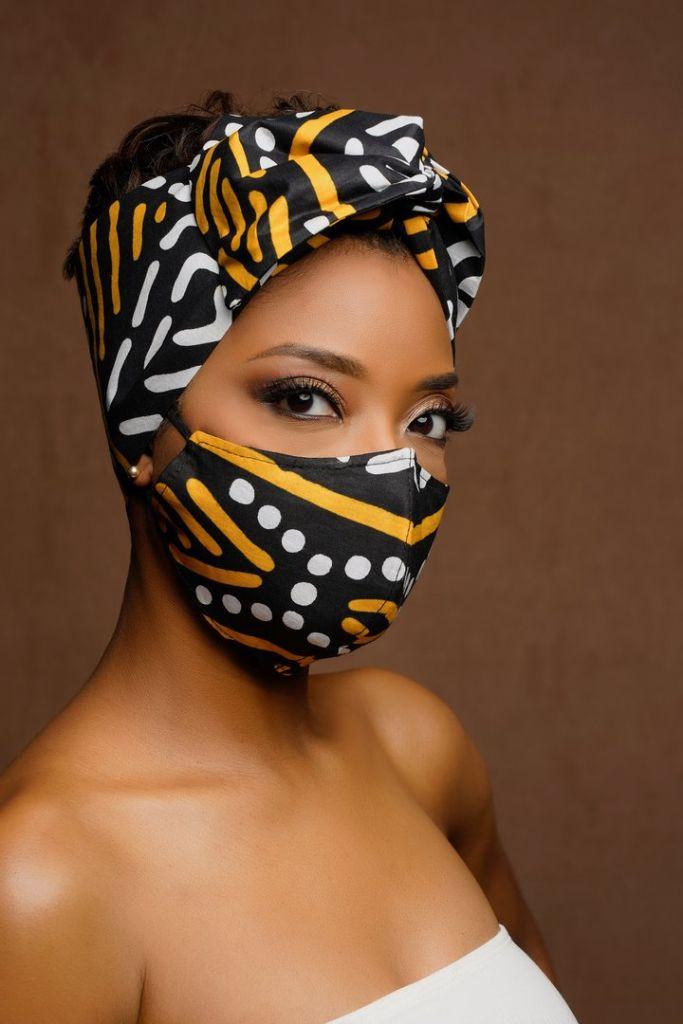 Mali African Print Black Mudcloth Wired Head wrap + Mask