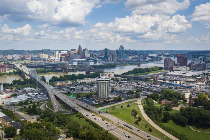 Elevated View of the Cincinnati Skyline from Devou Park, best places to live first time homebuyers