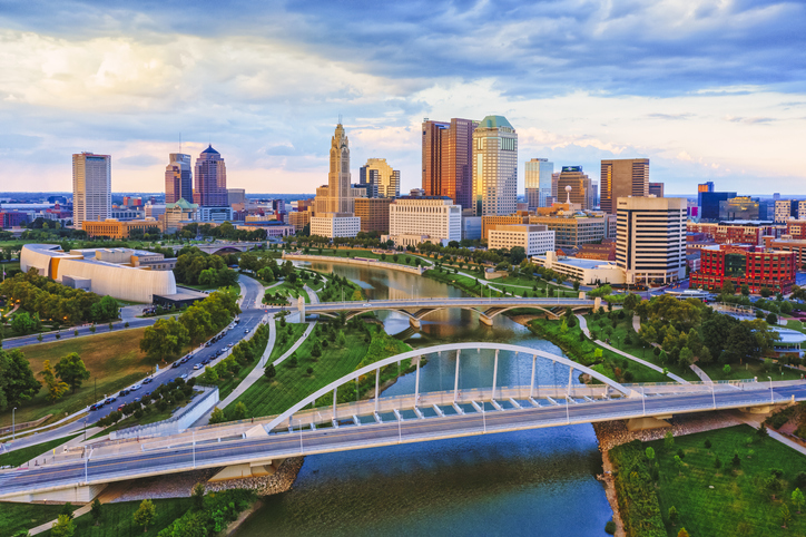 Columbus Ohio Scioto river and Main Street Bridge Aerial view of Downtown, best places to live